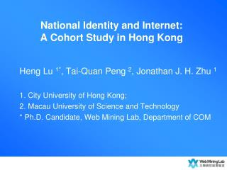 National Identity and Internet:  A Cohort Study in Hong Kong