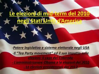 Le elezioni di mid-term del 2010 negli Stati Uniti d�America