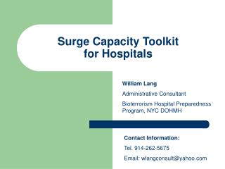 Surge Capacity Toolkit for Hospitals