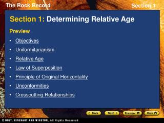 Section 1: Determining Relative Age