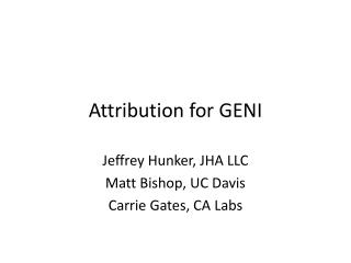 Attribution for GENI