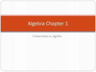 Algebra Chapter 1
