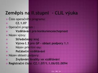 Zeměpis na II.stupni  - CLIL výuka