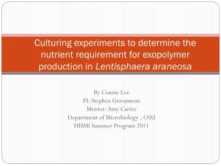 By Connie Lee PI: Stephen  Giovannoni Mentor: Amy Carter Department of Microbiology , OSU