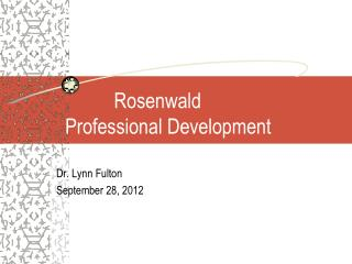 Rosenwald Professional Development