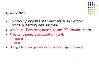 Agenda: 3/10