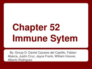 Chapter 52 Immune Sytem