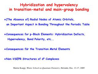 Hybridization and  hypervalency in  transition-metal and main-group bonding