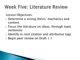 Week Five: Literature Review