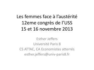 Les femmes face à l'austérité  12eme congrès de l'USS 15 et 16 novembre 2013
