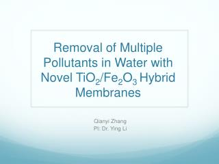 Removal of Multiple Pollutants in Water with  N ovel TiO 2 / Fe 2 O 3  Hybrid Membranes