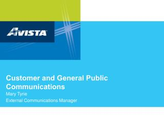 Customer and General Public Communications