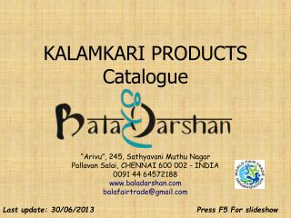 KALAMKARI PRODUCTS Catalogue