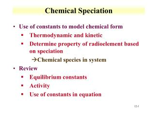 Chemical Speciation
