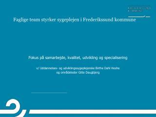 Faglige team styrker sygeplejen i Frederikssund kommune