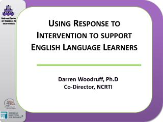Using Response to Intervention to support English Language Learners