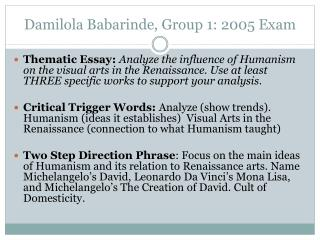 Damilola Babarinde, Group 1: 2005 Exam