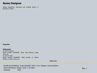 Facolt� di Architettura �Luigi  Vanvitelli � SUN / C.d.L.  Design e comunicazione