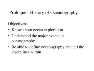 Prologue:  History of Oceanography