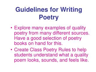 Guidelines for Writing Poetry