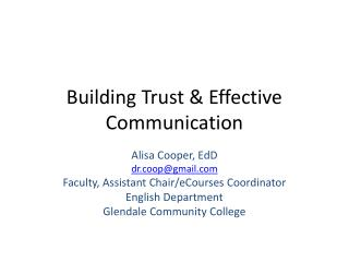 Building Trust & Effective Communication