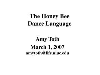 The Honey Bee  Dance Language