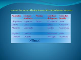20 words that  we are  still using from our Mexican indigenous languages