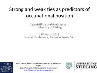Strong and weak ties as predictors of occupational position