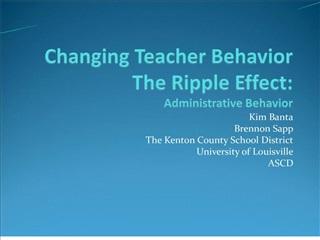 Changing Teacher Behavior The Ripple Effect: Administrative Behavior