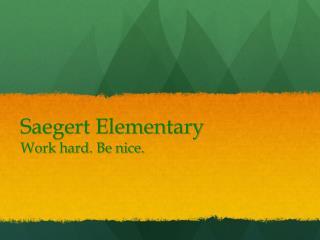 Saegert Elementary Work hard. Be nice.