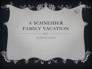 A  Schneider Family Vacation