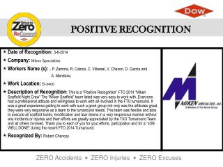 Date of Recognition :  3-6-2014 Company :  Miken Specialties