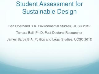 Student Assessment for Sustainable Design