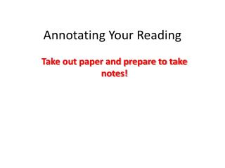 Annotating Your Reading