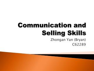 Communication and Selling Skills