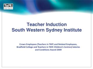 Teacher Induction South Western Sydney Institute