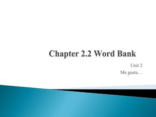 Chapter 2.2 Word Bank