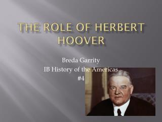 The Role of Herbert Hoover