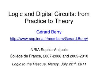Logic and Digital Circuits: from  Practice  to  Theory