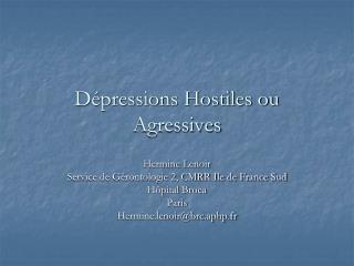 D�pressions Hostiles ou Agressives