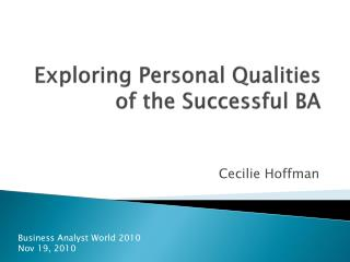 Exploring Personal Qualities of the Successful BA