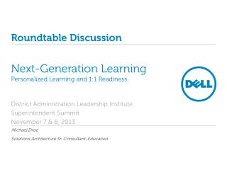 Next-Generation  Learning Personalized Learning and 1:1  Readiness