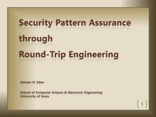 Security Pattern Assurance  through  Round-Trip Engineering