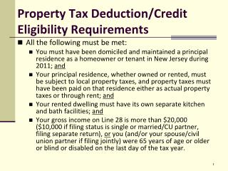 Property Tax  Deduction/Credit Eligibility  Requirements