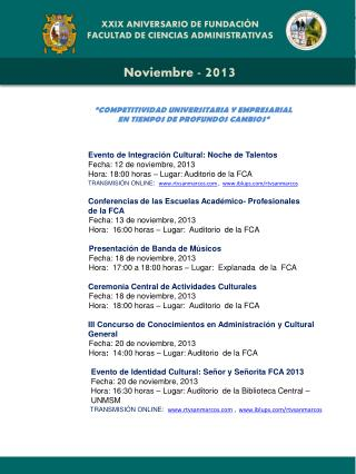XXIX ANIVERSARIO DE FUNDACIÓN FACULTAD DE CIENCIAS ADMINISTRATIVAS