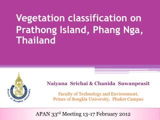 Vegetation classification on  Prathong Island,  Phang Nga ,  Thailand
