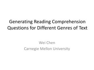 Generating Reading Comprehension Questions for Different Genres of Text