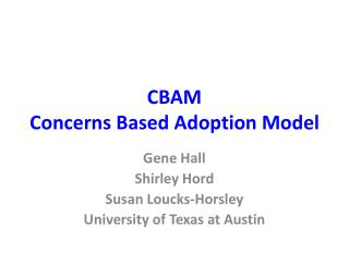 CBAM Concerns Based Adoption Model