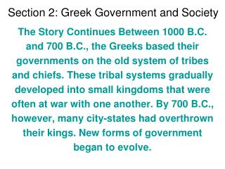 Section 2: Greek Government and Society