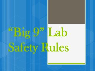 """Big 9"" Lab Safety Rules"